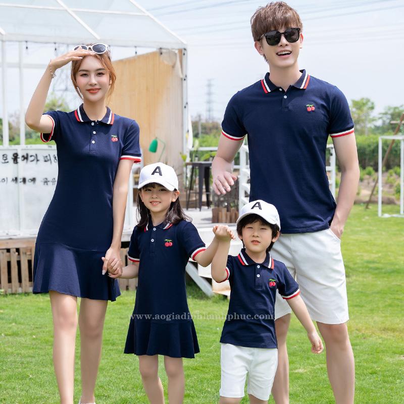 Áo váy thun gia đình xanh dương hạnh phúc